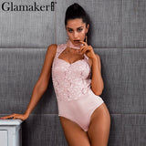 Halter Lace Jumpsuit Romper Women V Neck Bodycon Overalls Sleeveless Pink Autumn Winter Bodysuit