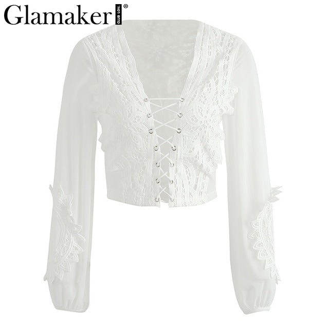 Hollow Out Mesh White Lace Blouse Shirt Women Tops Transparent Lace Up Casual Blouse