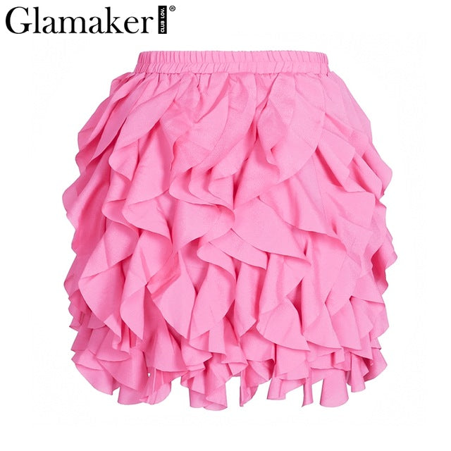 Ruffle Pleated Mini Skirt Summer Casual High Waist Spring Short Skirt Party Club Skirts