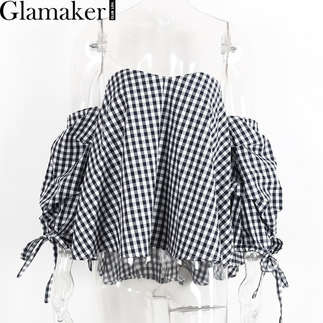 Plaid Off Shoulder Blouse Shirt Women Striped Backless Slim Beach Shirt Blouse Tops Summer