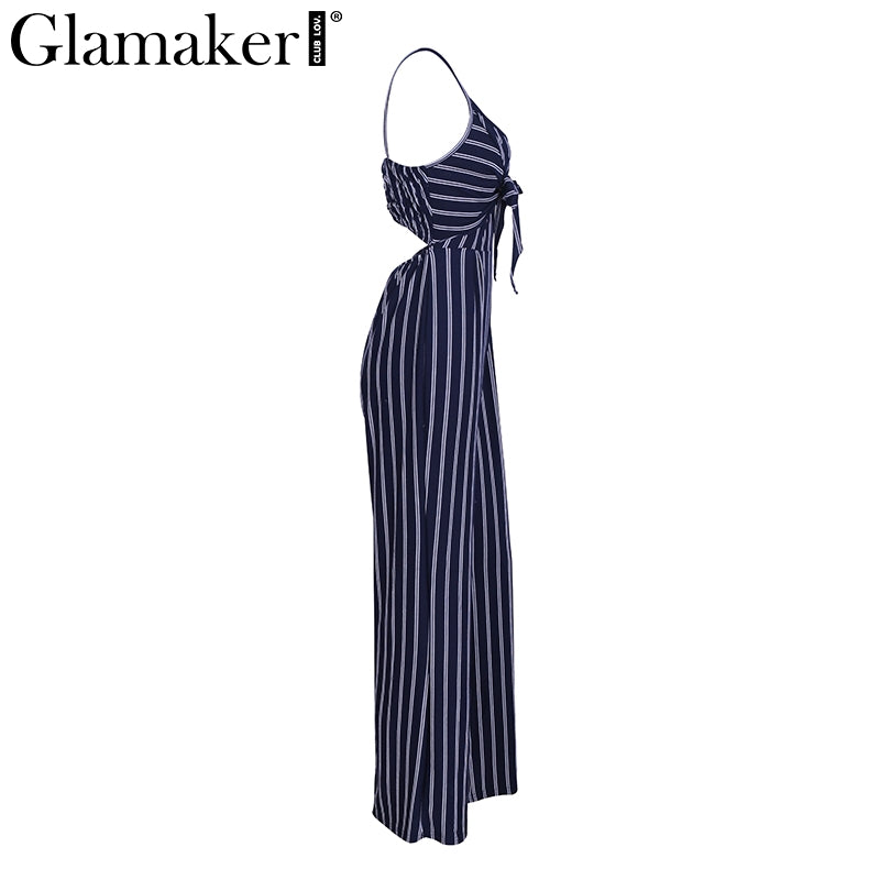 Strap Striped Loose Pants Jumpsuit Romper Women Casual Long Overalls Elastic Bow Jumpsuit