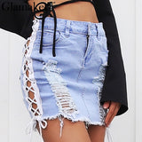 Washed Denim Side Lace Up Women Hollow Out Pencil Skirt Short Streetwear Casual Mini Denim Skirt