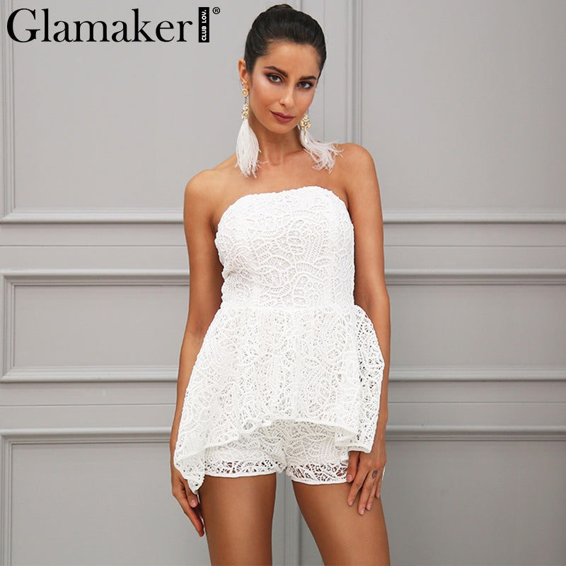 a10b317deec3 ... White Lace Off Shoulder Floral Jumpsuit Romper Women Slash Neck Playsuit  Summer Chic Overalls ...