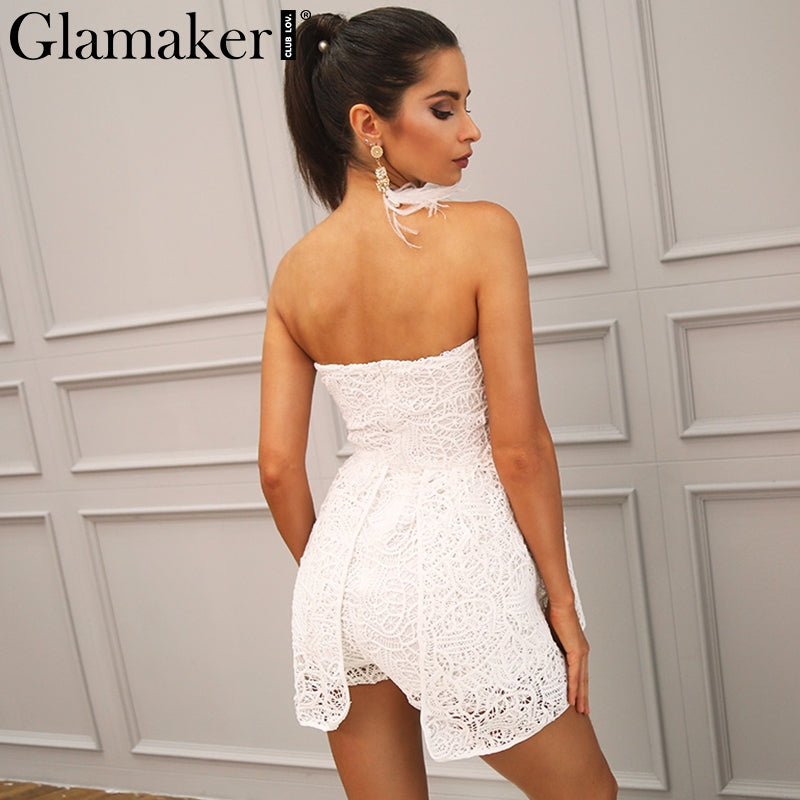 White Lace Off Shoulder Floral Jumpsuit Romper Women Slash Neck Playsuit Summer Chic Overalls