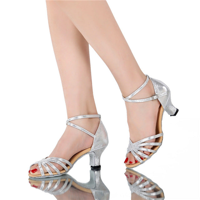 Gold High Heels Women Shoes Pumps Latin Dance Shoes Heeled Low Heels Wedding Party Shoes