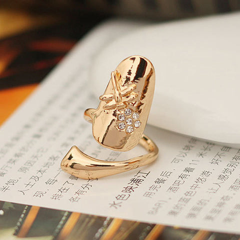 Gold Silver Finger Ring Crystal Dragonfly Fine Jewelry Summer Style Punk Jewelry Women