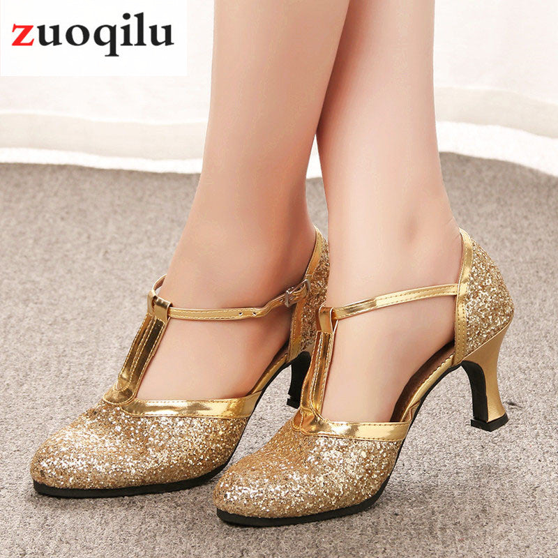 Gold High Heels Women Shoes Pumps Women Latin Dance Shoes Low Heels Wedding Party Shoes