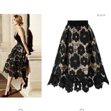 Summer High Elastic Waist Lace Skirt Women Vintage Floral Crochet Hollow Out Ball Gown Mid-calf Skirt