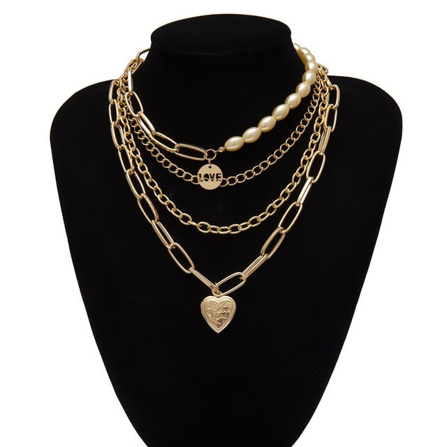 Gothic Layered Pearl Chunky Chain Necklace Colar Punk Gold Color Heart Pendant Choker Couple Jewelry
