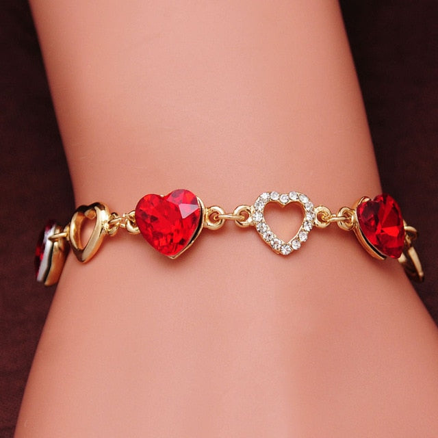 Heart Bracelet Women Gold Color Crystal Charm Bracelets Bangles Jewelry