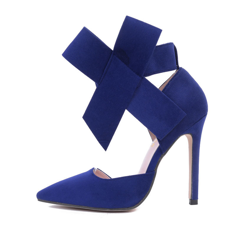 Spring Summer Big Bow Pointed Toe High Heels Sandals Shoes Ladies Wedding Party Pumps Shoes