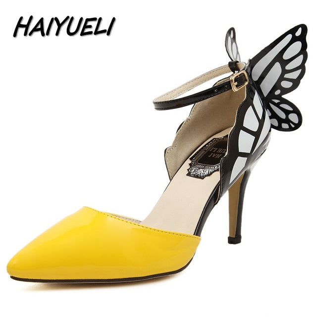 Butterfly Buckle Women Pumps Pointed Toe Wedding Party Nightclub High Heels Sandals Shoes