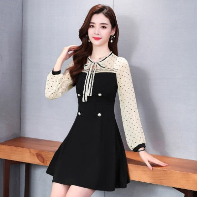 Dress Women Spring Plus Size Long Sleeve Loose Korean Style Patchwork Chiffon Dresses