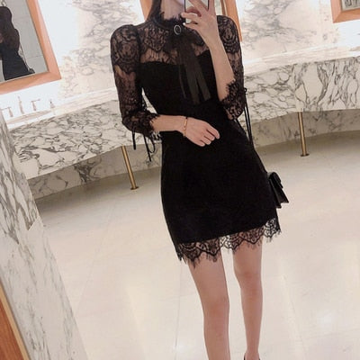 Women Summer Dress Plus Size Kawaii Black White Elegant Korean Style Lace Patchwork Dresses