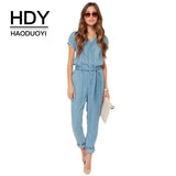Women Blue V Neck Tie Waist Denim Jumpsuits Buttons Short Sleeve Casual Jumpsuits