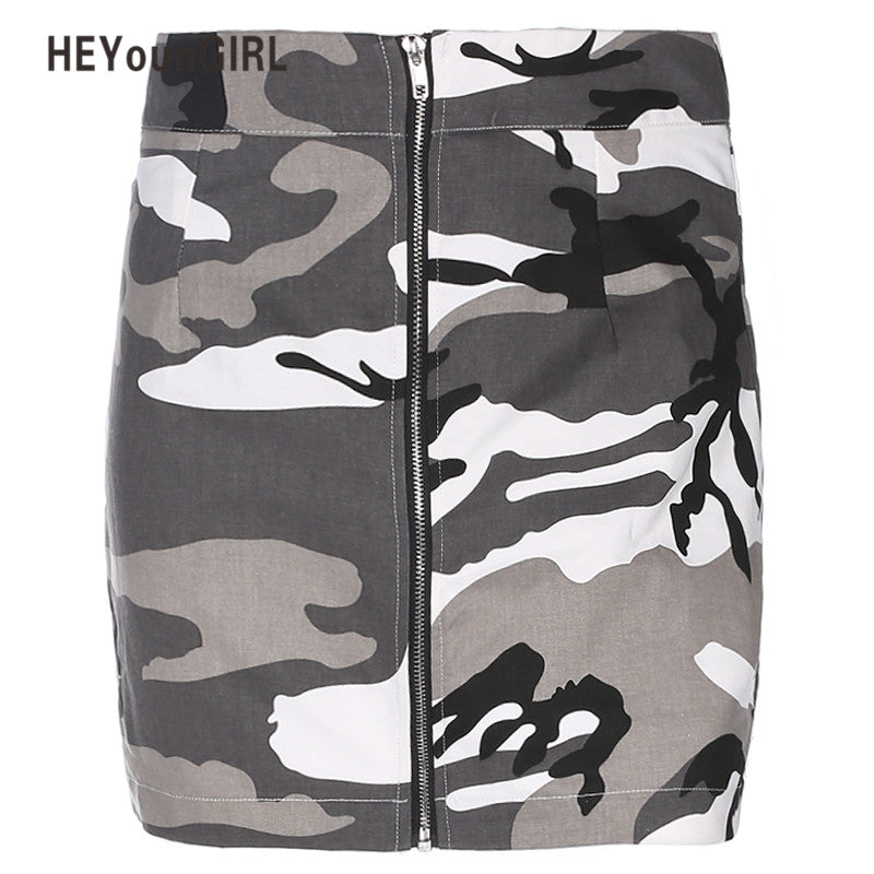 Mini Denim Women High Waist Short Skirt Orange Camouflage Streetwear Harajuku Skirt Summer