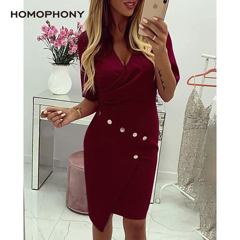 Office Dress Women Business Long Sleeve V-neck Formal Wear Work Autumn Suit Solid Dresses