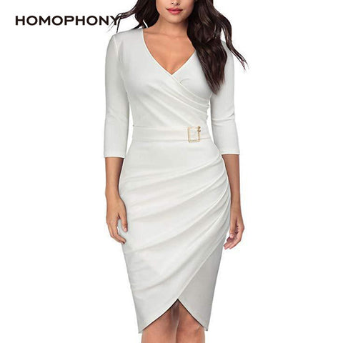 Women Dress Office V Neck Dress Autumn Long Sleeve Bodycon Summer Dresses Plus Size