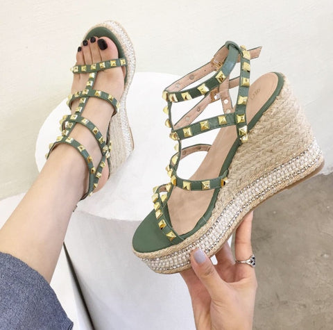 Handmade Rivet Wedge Sandals Women Shoes Platform High Sandals Summer Shoes