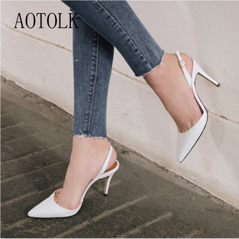Women Pumps Pointed Toe Office Buckle Strap Platform High Heels Shoes Four Season Leather Shoes