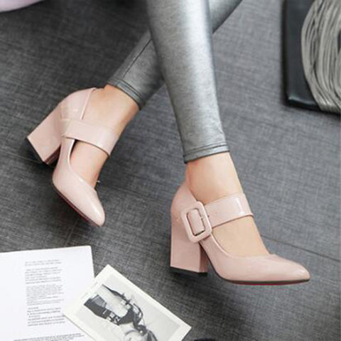 Women Pumps Shoes Genuine Leather Pointed Toe Lace-Up Thick High Heel Shallow Solid Casual Shoes
