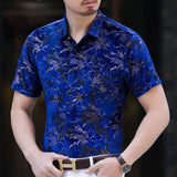 High-quality Ice Silk Business Casual Short Sleeve Shirt Summer Breathable Hollow Thin Men Shirt