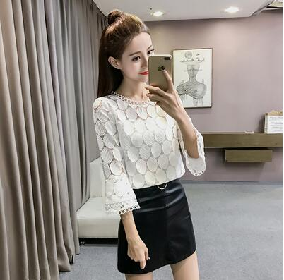 8f628d26e0 Hollow Out Lace Blouses Shirts Autumn Korean Women Flare Sleeves O-Neck  Slim Apricot White Tops