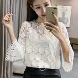 Hollow Out Lace Blouses Shirts Autumn Korean Women Flare Sleeves O-Neck Slim Apricot White Tops