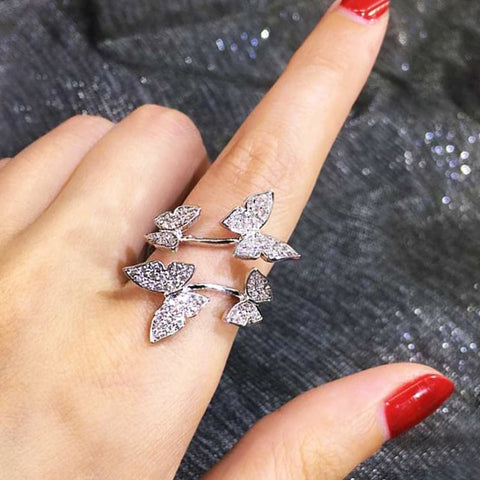 Same Ring Hot Hollow Carved Flowers Dendrites Crystal Double Finger Rings Jewelry