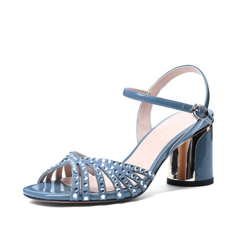 Crystal Cow Leather Sandals Women Summer Round Heels High Heels Shoes Office Strap Shoes