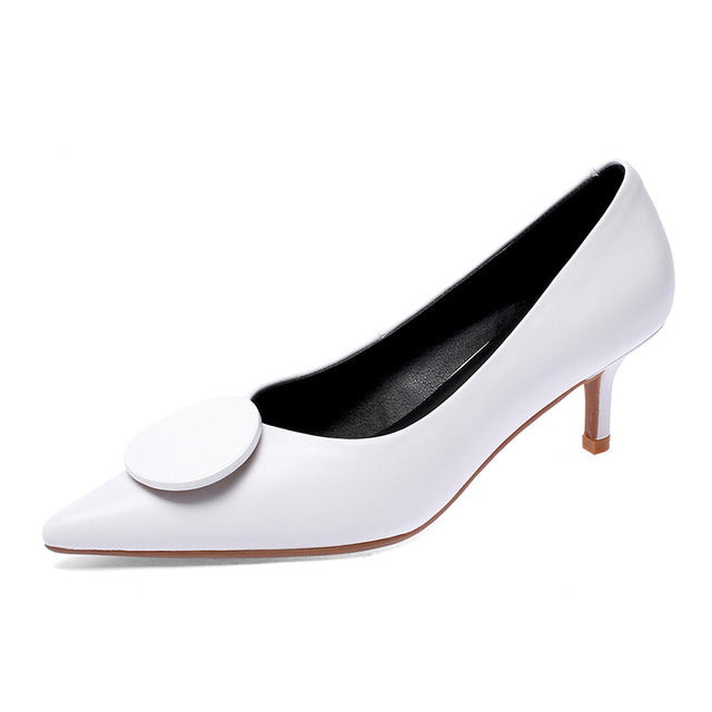 Thin High Heels Women Pumps Office Shoes Pointed Toe Slip On Shallow Genuine Leather Kitten Heels Party Pump