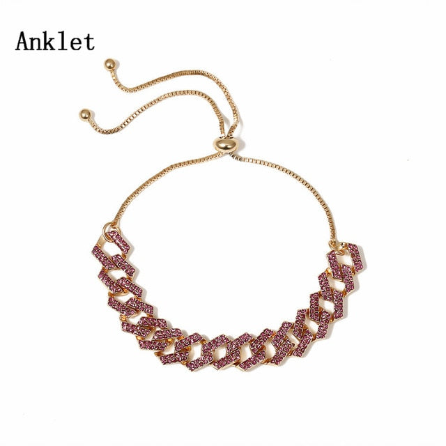 Charm Shiny Rhinestone Anklet Bracelet Adjustable Crystal Anklets On Foot Barefoot Sandals Jewelry