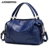Women Handbag Soft Leather Solid Top-Handle Shoulder Bag Casual Large Capacity Totes