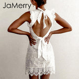 Sleeveless White Dress Backless Ruffled Strap Lace Bodycon Summer Mini Party Dresses