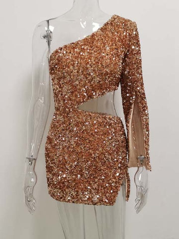 Women One Shoulder Sequin Dress Sparkle Gold Rose Waist Hollow Out Short Outfit Club Wear Party Dresses