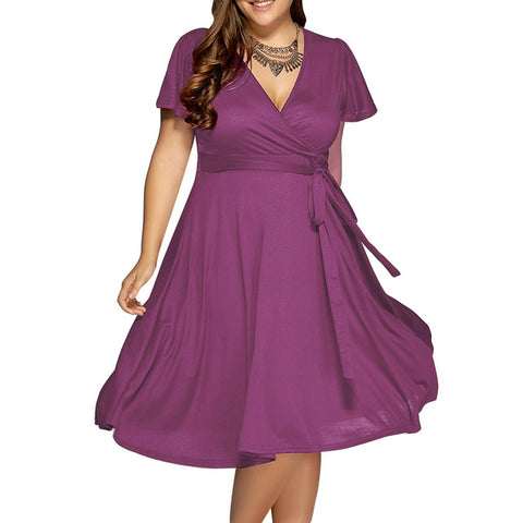 Plus Size Light Purple Summer Women Vintage Dress V Neck Belts Short Sleeves Retro Office Dresses