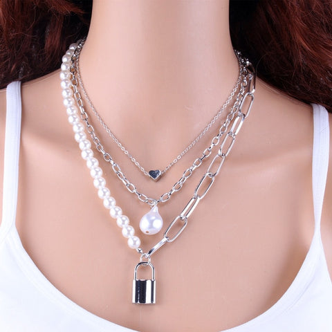 2 Layers Pearls Geometric Pendants Necklaces Women Gold Metal Snake Chain Necklace Jewelry Gift