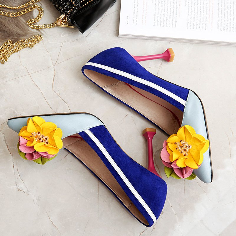 Genuine Leather Original Thin High Heels Shallow Women Flowers Luxury Pumps Pointed Toe Shoes