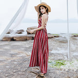 Summer Maxi Dress Backless Boho Chic Women Beach Red Spaghetti Bandage Holiday Dresses