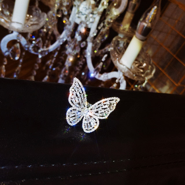 Korean Jewelry Women Copper Inlaid Zircon Ring Exaggerated  Butterfly Cocktail Opening Ring