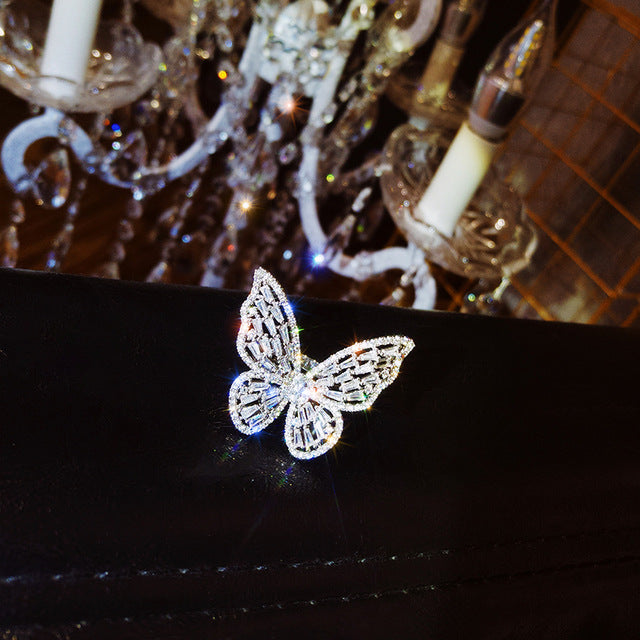 Korean Jewelry Women Copper Inlaid Pink Zircon Ring Exaggerated Butterfly Prom Open Rings