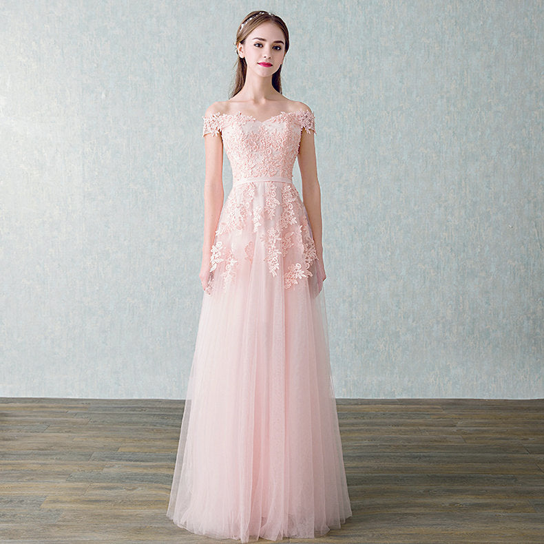 Women Beading Long Evening Dresses Elegant Lace Boat Neck Banquet Sexy Formal Party Gown