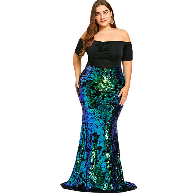 ... Plus Size Women Dresses Off Shoulder Sequined Mermaid Dress Party Dress  ... be43c529aa5e