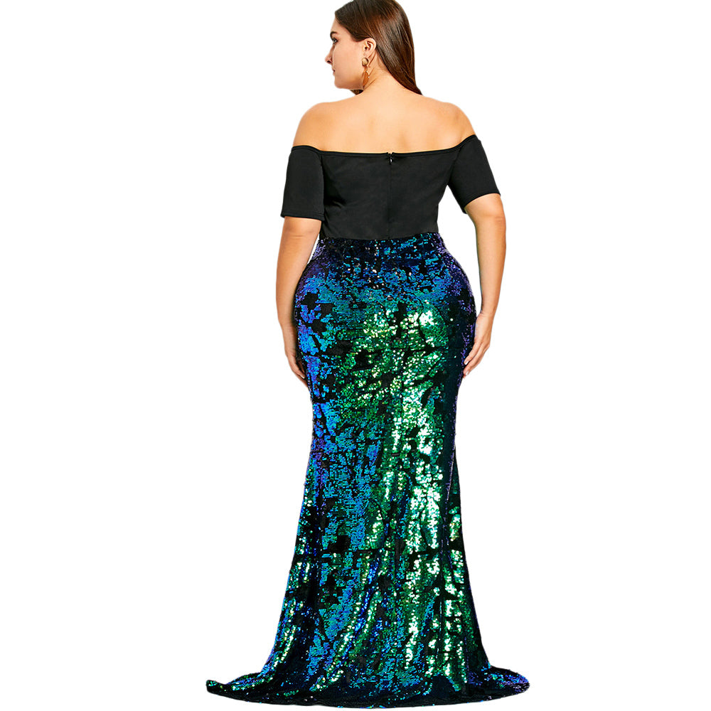Plus Size Women Dresses Off Shoulder Sequined Mermaid Dress Party Dress