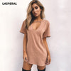 LASPERAL V Neck Cotton Summer Dresses Solid Casual Loose Dress A-Line Mini Vestidos Plus Size