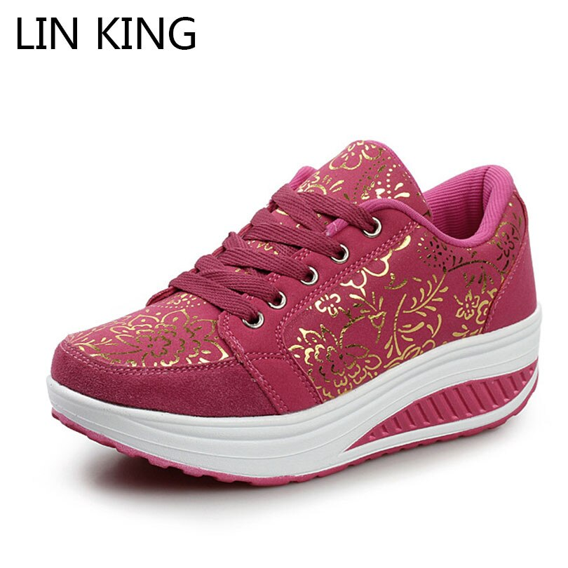 Lace Up Women Casual Shoes Girl Wedges Breathable Height Increasing Thick Sole Work Shoes