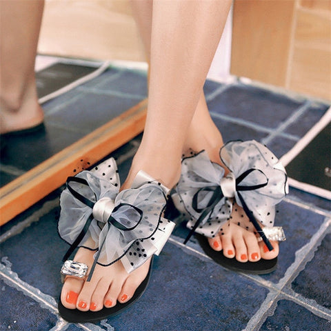 Sweet Bowtie Lace Floral Women Flats Slippers Crystal Rhinestone Girls Slides Outdoor Beach Shoes