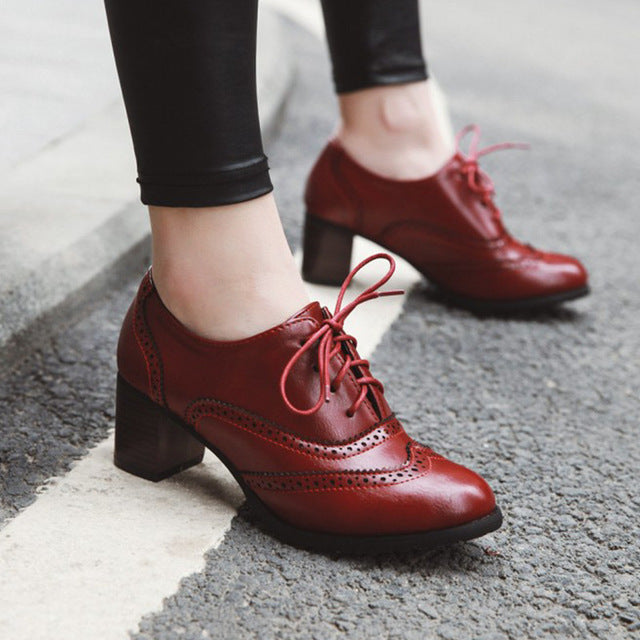 Vintage Women Lace Up Pumps Square Heel Pointed Toe High Heel Shoes British Oxfords Student Shoes