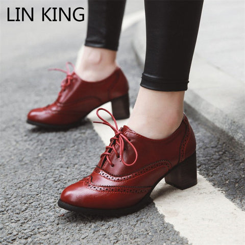 Autumn Pointed Toe Women Pumps Sheepskin Leather Office Career Stilettos Big Size Shoes
