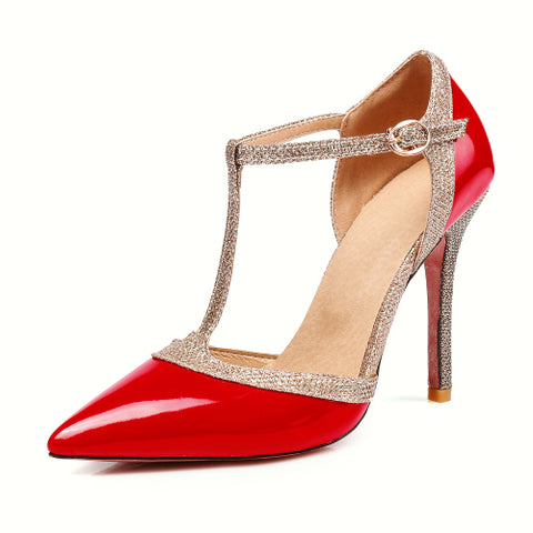 T Strap Women Pumps Pointed Toe Summer Stiletto High Heels Wedding Shoes